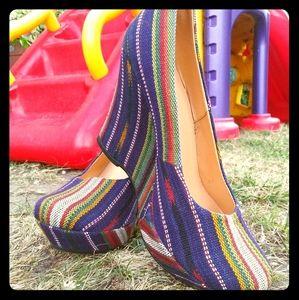 Womens Multi-colored Wedge Heels